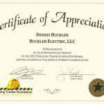 electrician certificate of appreciation from the builders founders association in St. Mary's County