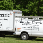 Buckler Electric Company service van and trailer in Southern Maryland